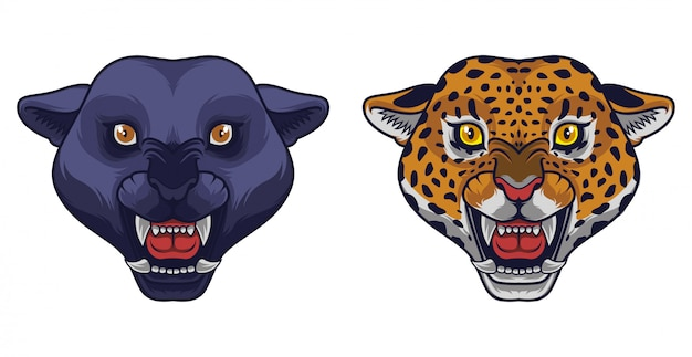 Angry black panther and leopard head mascot