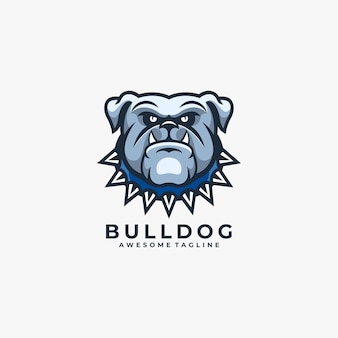Angry blue bulldog cartoon logo