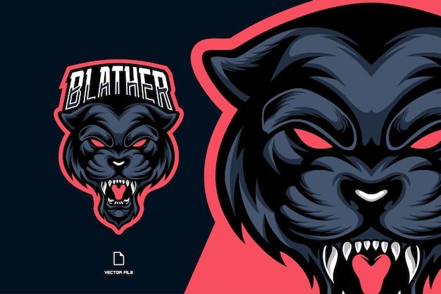 Angry blue panther head mascot esport logo for game team illustration