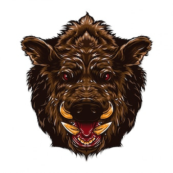 Angry boar face