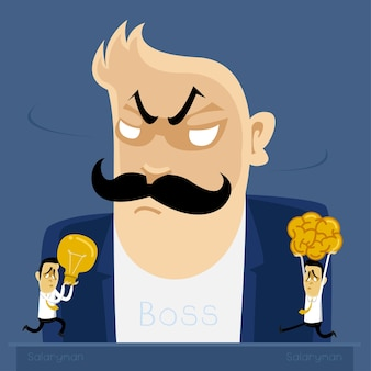Angry boss  action to salaryman in working business time