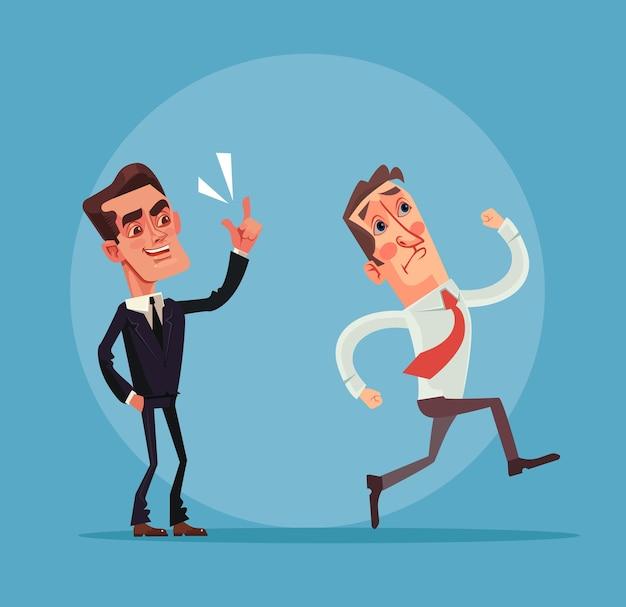 Злой босс и персонажи работодателя. плоский мультфильм иллюстрации