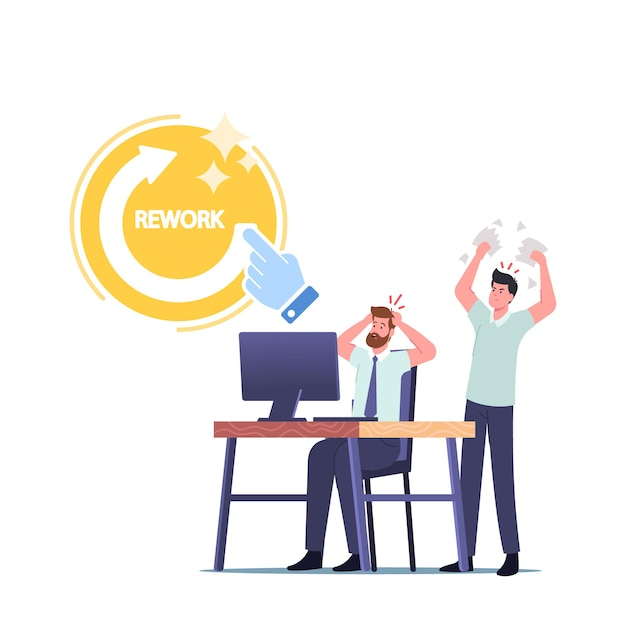 Angry boss character yelling at male office employee scolding for incompetent bad work, tear documents demand to rework and fixing mistakes. businessman in stress. cartoon people vector illustration