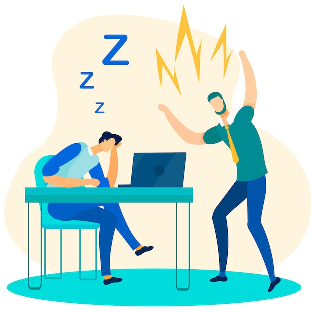 Angry boss chief and office worker falling asleep