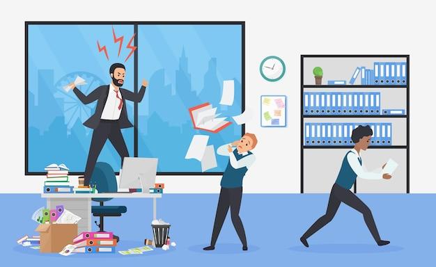 オフィスの怒っている上司は猛烈なトップマネージャーにショックを受けた従業員を怖がらせた