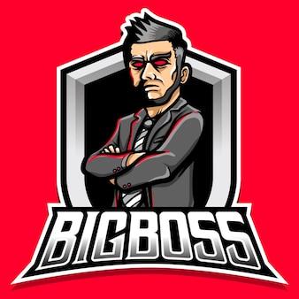 Злой босс мужской персонаж талисман логотип иллюстрации