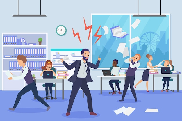 Angry boss in office flat vector illustration. frightened employees shocked by furious top manager cartoon characters. stressful working environment concept. missing deadlines, finding guilty workers.
