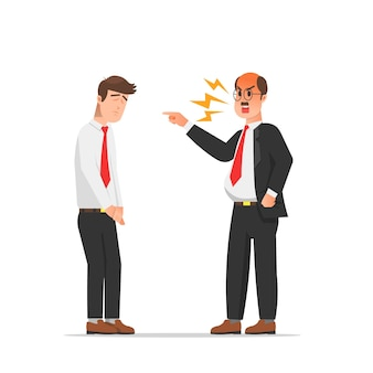 An angry boss pointing at his employee