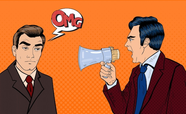 Angry boss screaming in megaphone on exhausted businessman. pop art. vector illustration