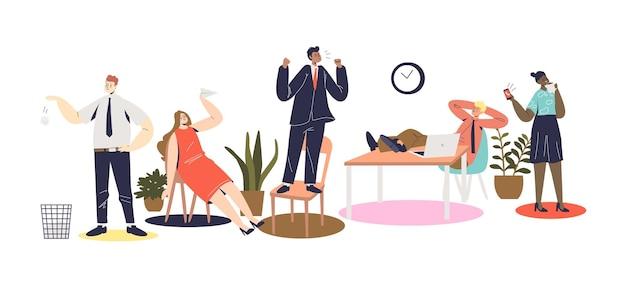 怠惰な従業員のチームで叫んでいる怒っている上司が職場にいます。怠惰な労働者を先延ばしに叱る悲鳴を上げるビジネスマン。漫画フラットベクトルイラスト