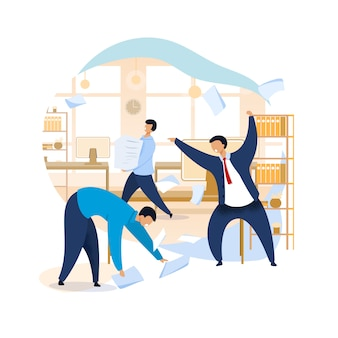 Angry boss shouting at employees clipart