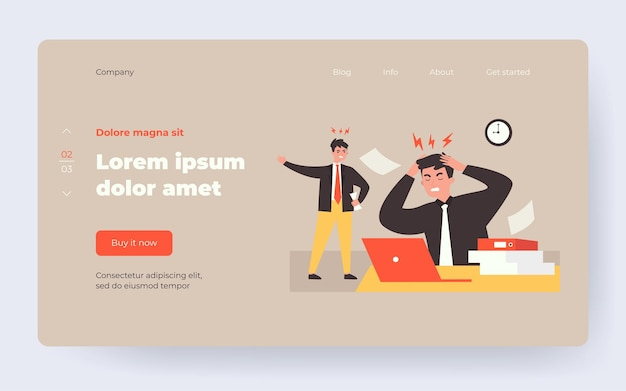 Angry boss shouting at frustrated employee. office worker suffering from migraine and feeling stress at work. vector illustration for burnout, deadline, office conflict concept