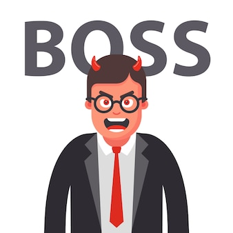 Angry boss with horns. displeased face of a man in a suit. flat character   illustration.