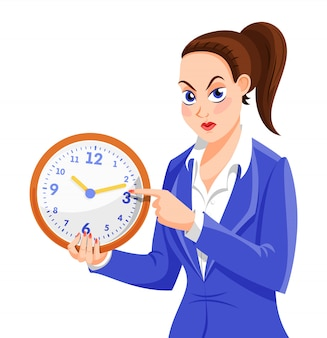 Angry boss woman character.
