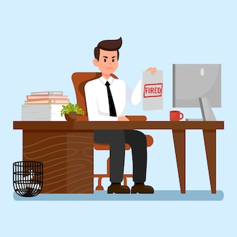 Angry boss at workplace flat vector illustration