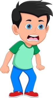 흰색 배경에 고립 된 화난 소년 만화