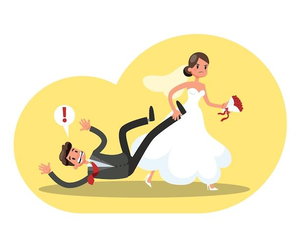 Сердитая невеста в белом свадебном платье тащит жениха