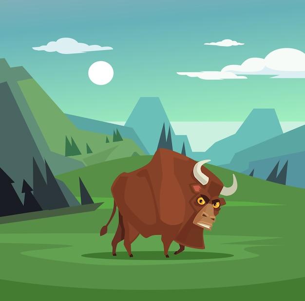 フィールドで放牧している怒っている雄牛のキャラクター、フラットな漫画イラスト