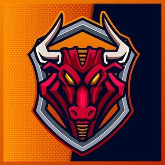 Angry bull esport 및 스포츠 마스코트 로고 디자인.