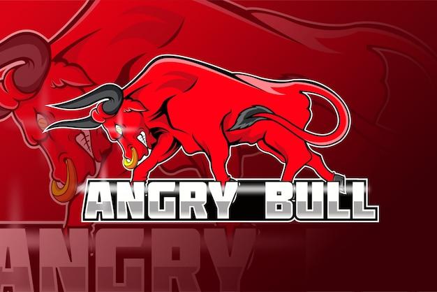 Angry bull hand drawing esport logo