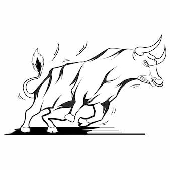 怒っている牛の手描きのビンテージスタイル