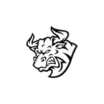 Angry bull head mascot illustration silhouette logo design