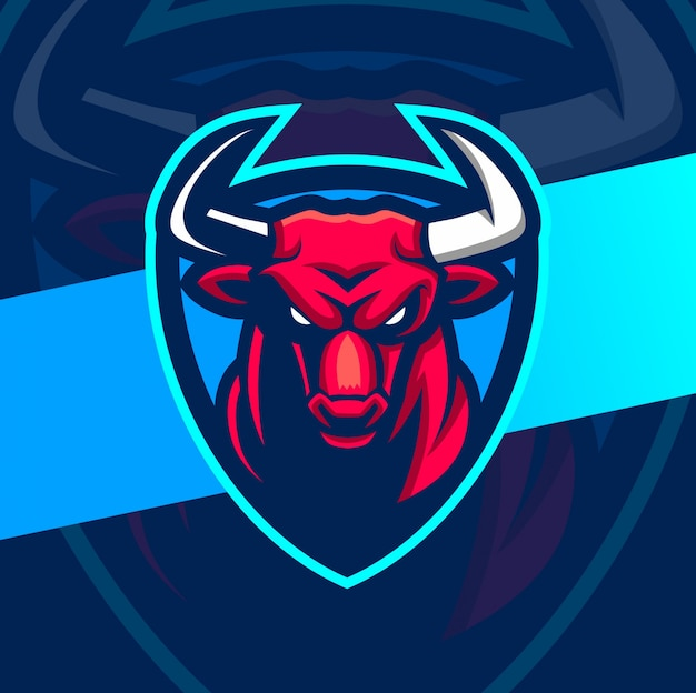 Злой бык талисман кибер дизайн логотипа