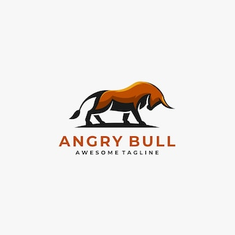 Angry bull pose illustration vector logo.