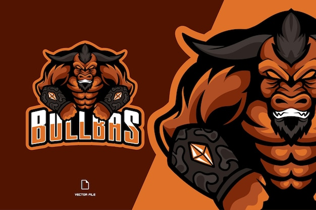 Angry bull with horn mascot esport game