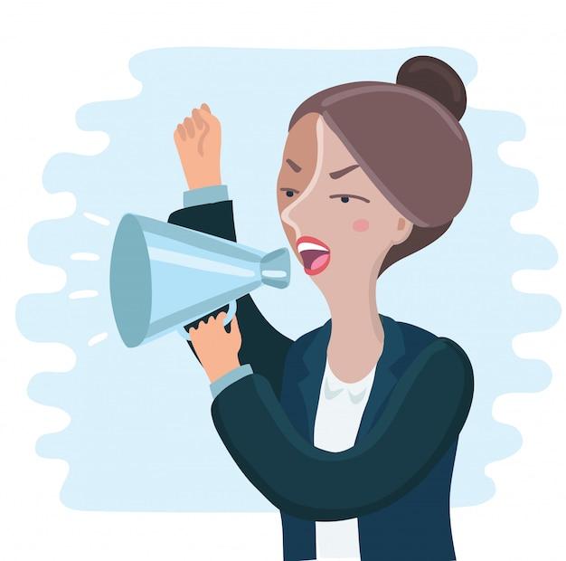 Сердитая деловая женщина кричит через мегафон
