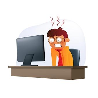 화난 사업가 캐릭터는 책상에 있는 사무실 의자에 앉아서 디스플레이를 보고 있습니다. 흰색으로 격리된 부정적인 감정을 가진 안경을 쓴 열심히 일하는 청년의 벡터 그림