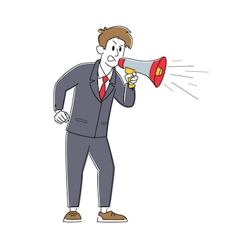 Angry businessman character yell to megaphone. annoyed man shouting to loudspeaker. boss hurry employees in deadline, propaganda, promotion