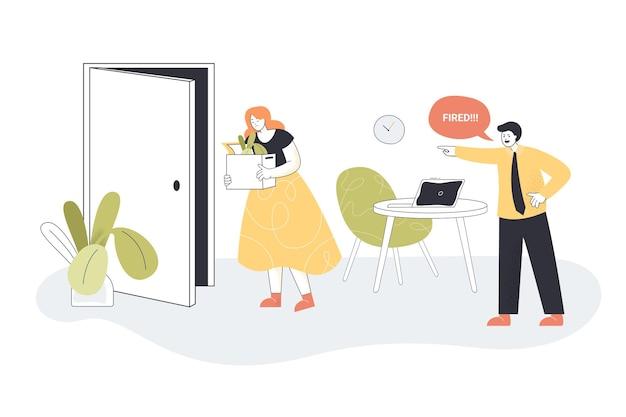 Сердитый бизнесмен увольняет грустную сотрудницу, покидающую офис