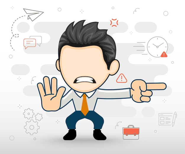 Angry businessman pointing in a direction flat illustration in cartoon style