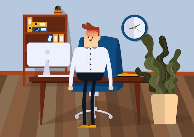 Злой бизнесмен, стоя в офисе. передний план. цветная векторная иллюстрация квартиры