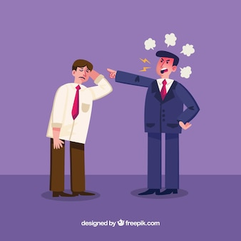 Angry businessman with employee