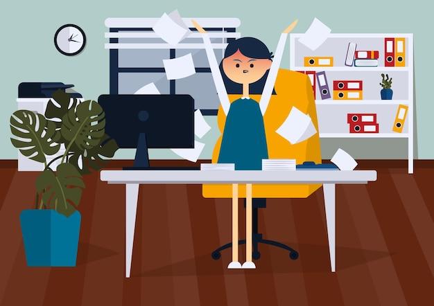 Злой бизнесвумен, стоя в офисе и бросает бумажные документы. вид спереди плоский цветной вектор