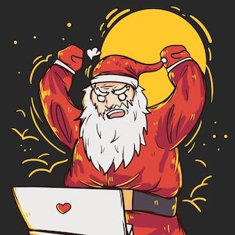 화가 바쁜 산타 클로스 그림