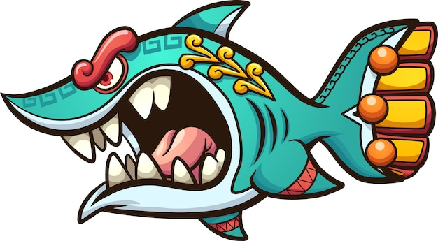 Angry cartoon aztec shark with open mouth.   clip art illustration.