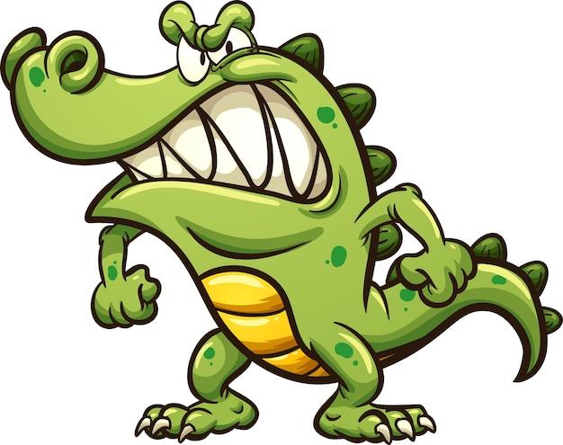 Angry cartoon crocodile