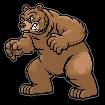 Злой мультяшный медведь гризли