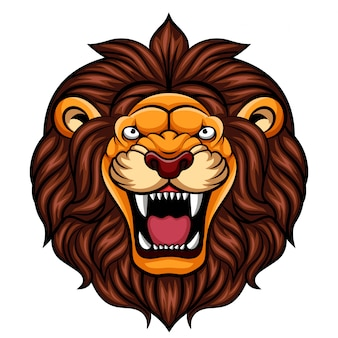 Angry cartoon lion head mascot
