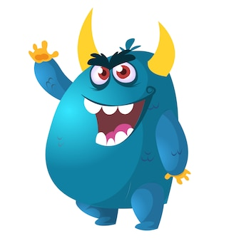 Angry cartoon monster.  vector illustration