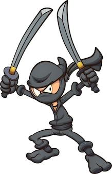 2本の剣を振るう怒っている漫画の忍者。