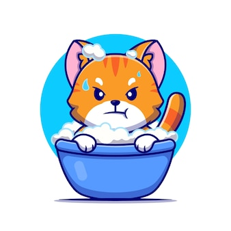 Angry cat bath in tub cartoon icon illustration.