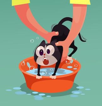怒っている猫のキャラクターは抵抗し、入浴漫画のイラストを望んでいません
