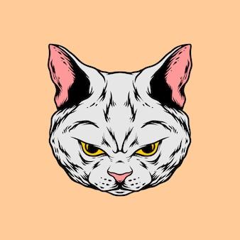 Сердитый кот голова рука стиль рисования