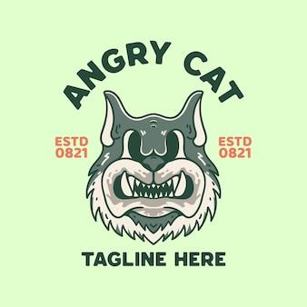 Angry cat illustration 티셔츠 빈티지 레트로