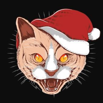 Angry cat santa claus christmas hat