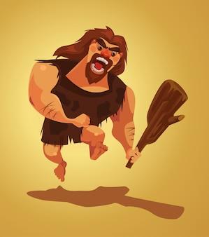 Angry caveman character run cartoon illustration
